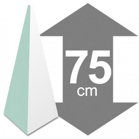 présentoir pyramide polystyrène hauteur 75cm base 30 x 30cm