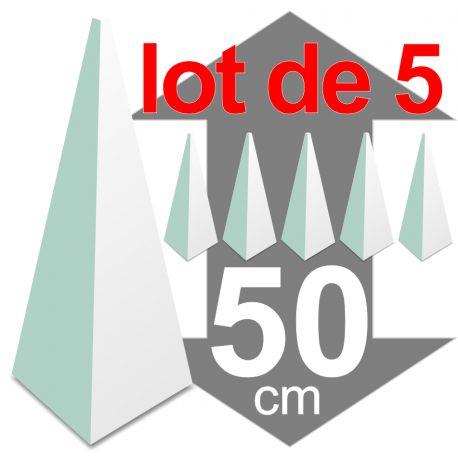 lot de 5 pyramides polystyrène hauteur 50 cm