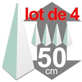 lot de 4 pyramides polystyrène hauteur 50 cm