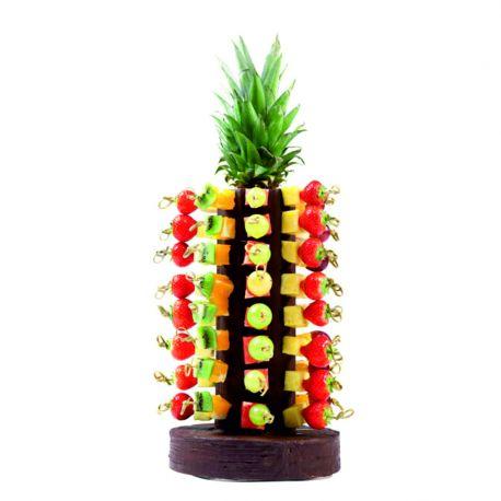 Colonne en polystyrène 7 facettes pour macarons ou navettes et sa base hauteur 32cm