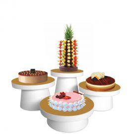 Lot de 4 présentoirs à gâteaux polystyrène guéridon étagés.