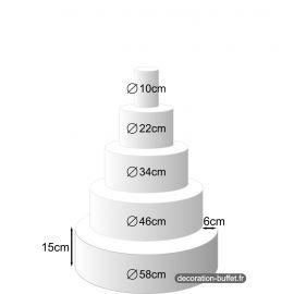 Présentoir gâteau américain 5 étages hauteur totale 75 cm - base 58 cm