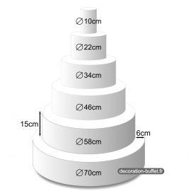 Présentoir gâteau américain 6 étages hauteur totale 90 cm - base 70 cm