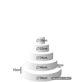 Présentoir gâteau américain 5 étages hauteur totale 50 cm - base 58 cm