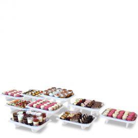 présentoir buffet grand modulo rectangle 5 éléments pvc