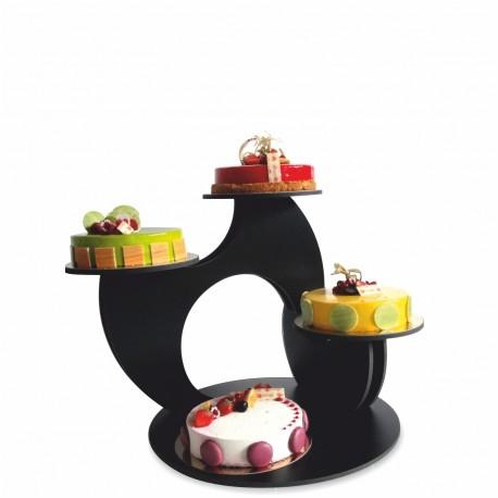 présentoir à gâteaux black en pvc noir