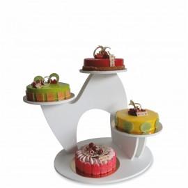 présentoir à gâteaux white en pvc blanc