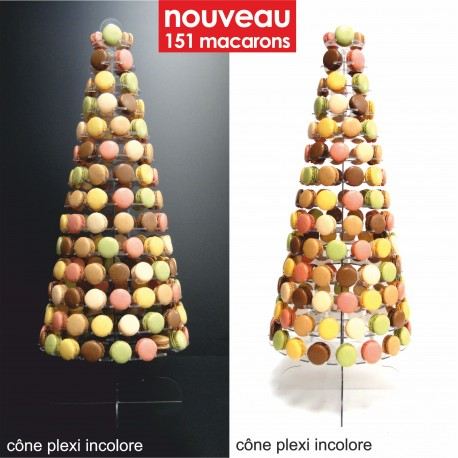 présentoir cône en plexi de luxe pour macarons