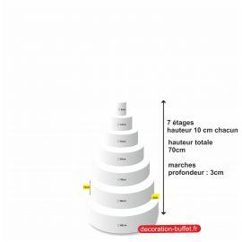 gâteau américain polystyrène 7 étages hauteur totale 70 cm - base 42 cm
