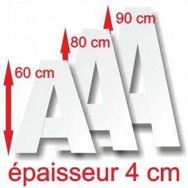 - Lettres majuscules polystyrène hauteur 60, 80, 90 cm épaisseur 4 cm