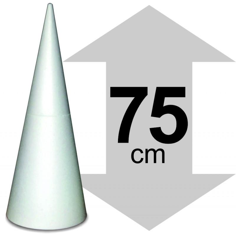 présentoir cone en polystyrène hauteur 75cm base 30cm