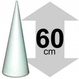présentoir cone en polystyrène hauteur 60cm base 24,5 x 24,5cm
