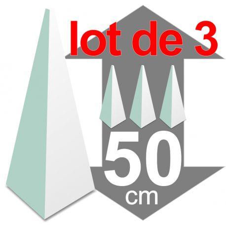 lot de 3 pyramides polystyrène hauteur 50 cm