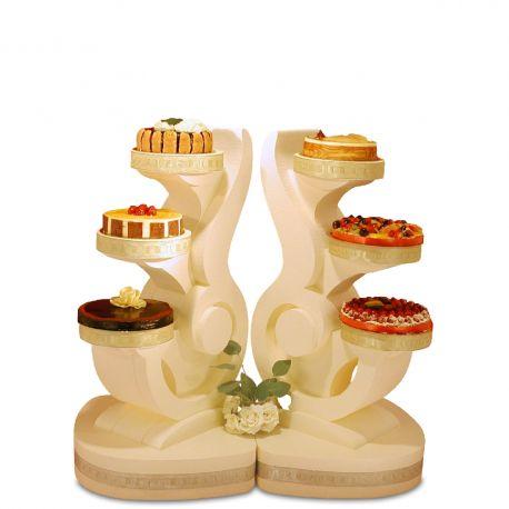 Ensemble 2 de présentoirs à gâteaux quatuor polystyrène