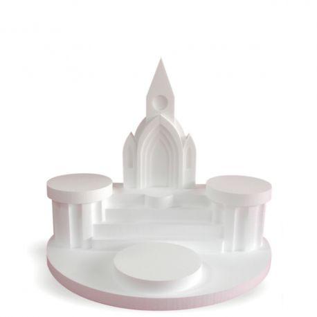 Présentoir à gâteaux église 3 gâteaux en polystyrène