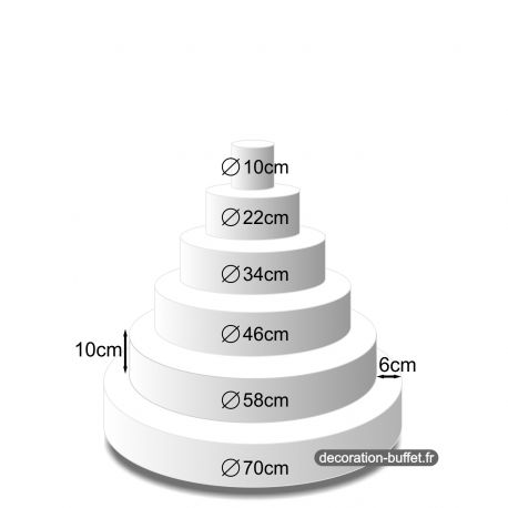 Présentoir gâteau américain 6 étages hauteur totale 60 cm - base 70 cm