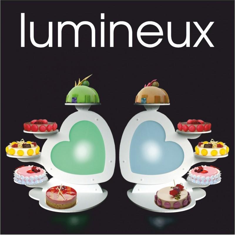 ensemble de 2 présentoirs lumineux à gâteaux petit coeur symétriques