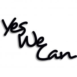Silhouette yes we can en pvc rigide noir longueur 75 cm