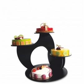 présentoir à gâteaux black en pvc noir garni