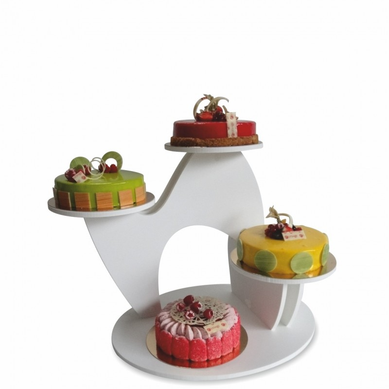 présentoir à gâteaux white en pvc blanc garni