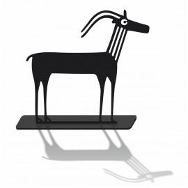 Silhouette decorative antilope en pvc noir mat et son socle