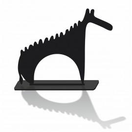 Silhouette decorative l'animal en pvc noir mat et son socle
