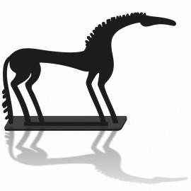 La silhouette decorative cheval en pvc noir mat et son socle