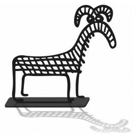 Silhouette decorative le belier en pvc noir mat et son socle