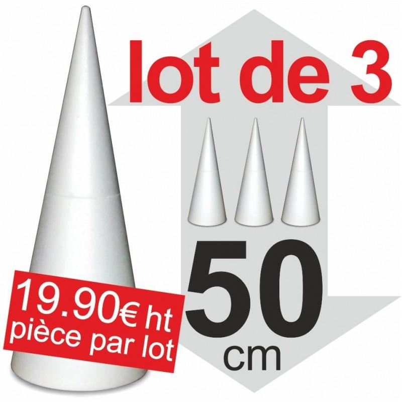 Lot de 3 Cones polystyrène - hauteur 50cm
