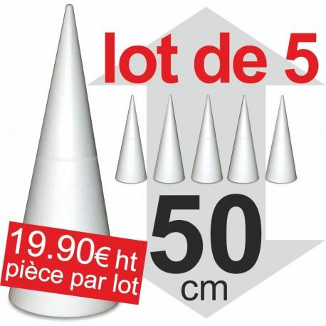 Lot de 5 Cones polystyrène - hauteur 50cm