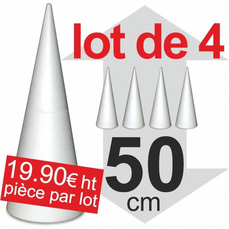 Lot de 4 Cones polystyrène - hauteur 50cm