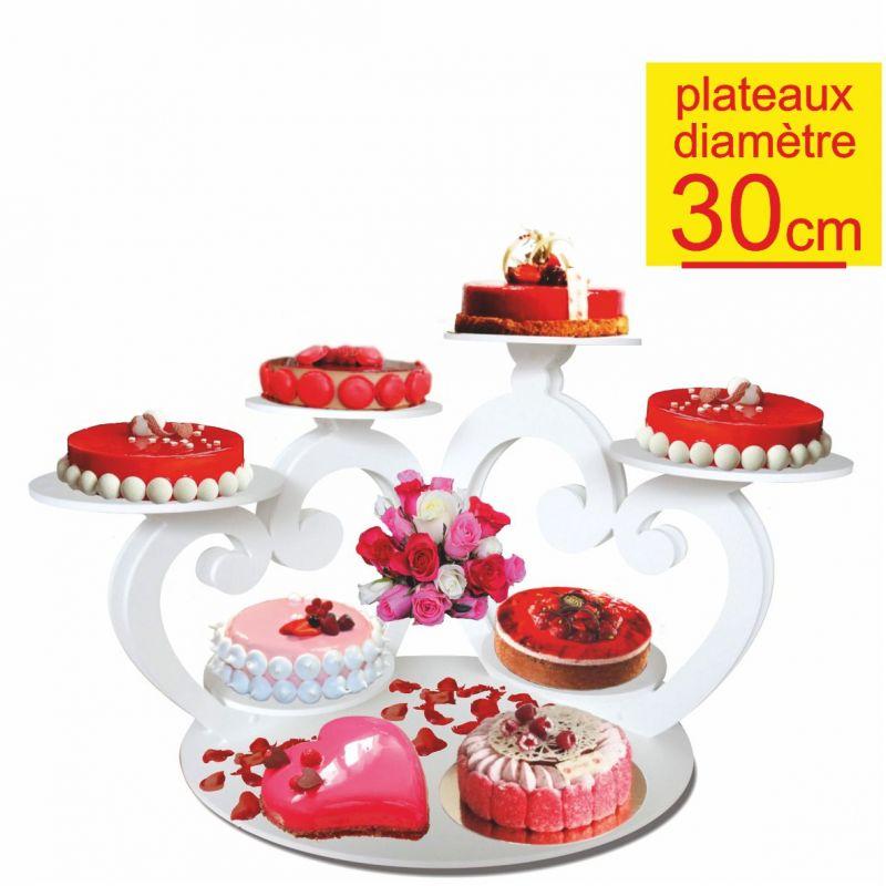 Pr sentoir g teaux double coeurs 7 gateaux diam tre 30 - Presentoire gateau mariage ...