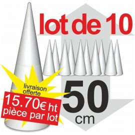lot de 10 cônes polystyrène hauteur 50 cm