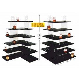 présentoir angle à miniatures 6 étages