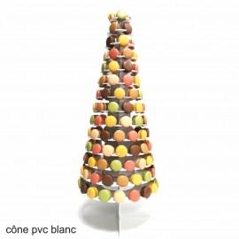 présentoir luxe cône en pvc compact blanc pour macarons