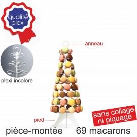 Pièce montée en plexi incolore pour 69 macarons
