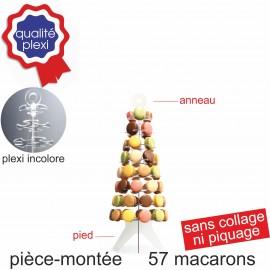 Pièce montée en plexi incolore pour 57 macarons