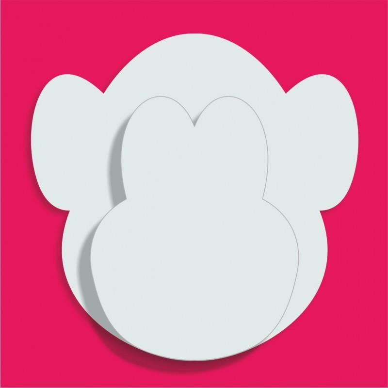 Forme polstyrène tête de singe pour gateau de bonbons 18x18cm ep3cm