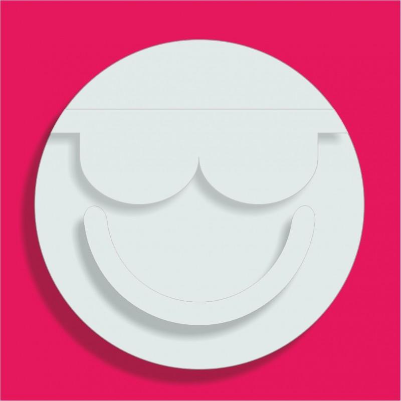 Support gateau bonbons emoticone lunettes poly 18x18cm ep 3+1cm