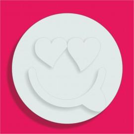 support gateau bonbons Emoticone Amoureux poly 18x18cm ep 3+1cm