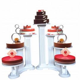 ensemble de 2 présentoirsen pvc olympiade pour 3 et 4 gâteaux