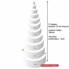 gâteau américain polystyrène 11 étages hauteur totale 165cm - base 68 cm