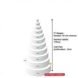 gâteau américain polystyrène 11 étages hauteur totale 110 cm - base 68 cm