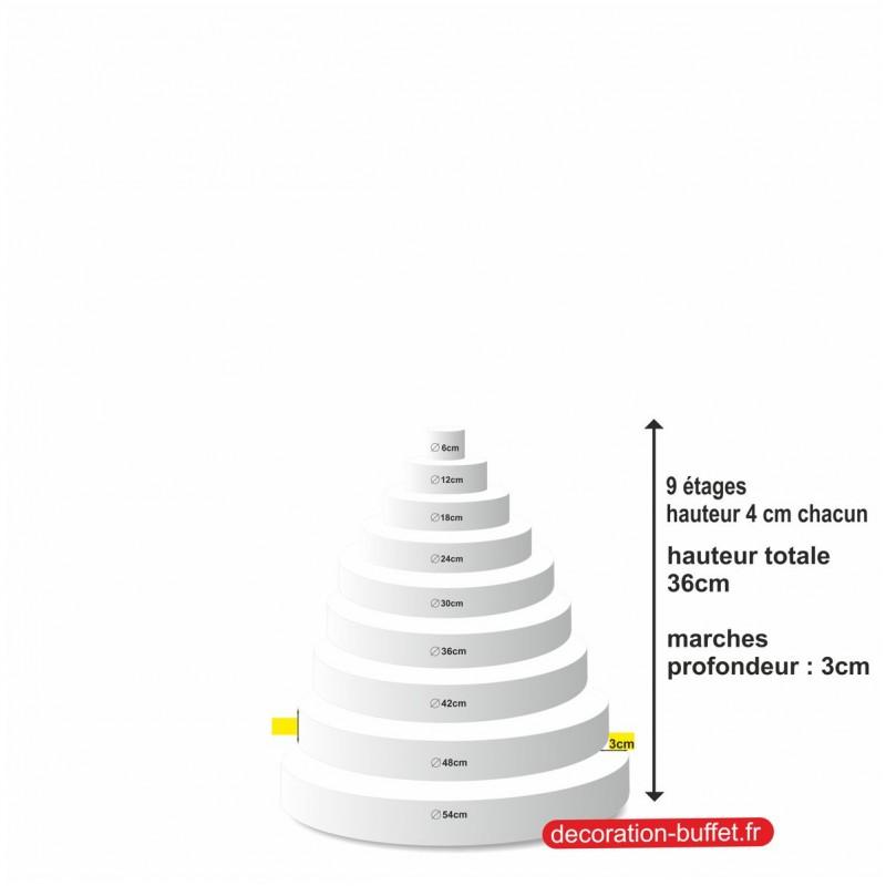 gâteau américain polystyrène 9 étages hauteur totale 36 cm - base 54 cm