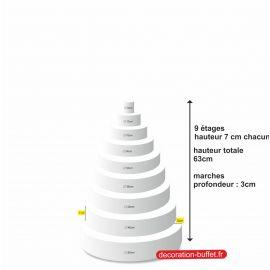 gâteau américain polystyrène 9 étages hauteur totale 63 cm - base 54 cm