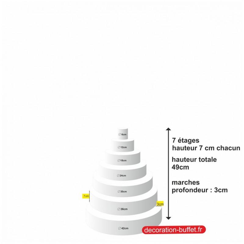 gâteau américain polystyrène 7 étages hauteur totale 49 cm - base 42cm