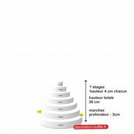 gâteau américain polystyrène 7 étages hauteur totale 28 cm - base 42cm