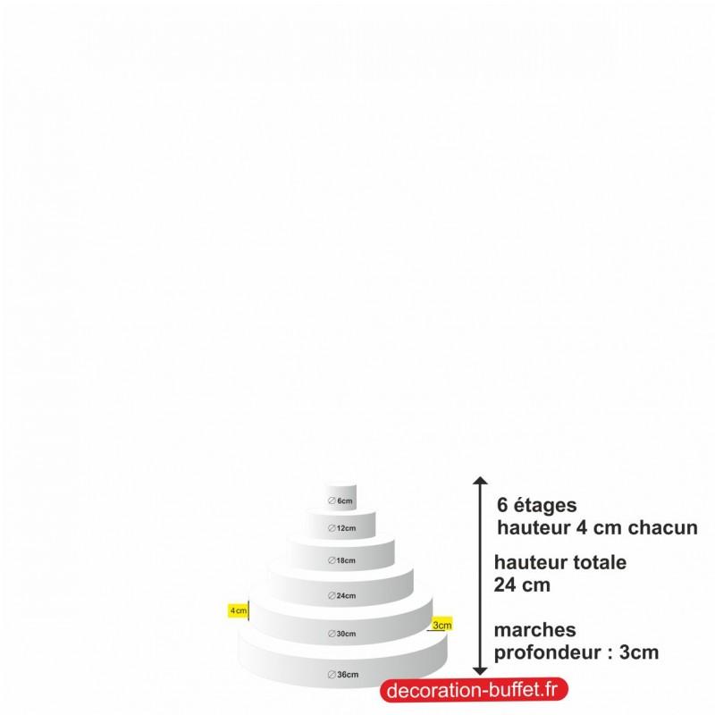 gâteau américain polystyrène 6 étages hauteur totale 24 cm - base 36cm