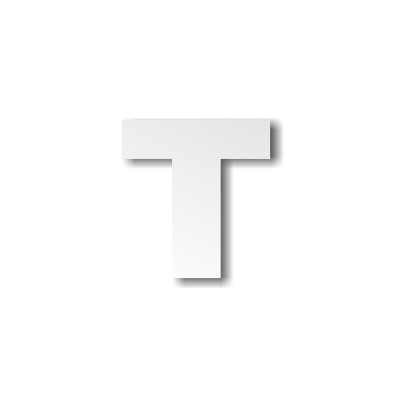 Grande lettre T majuscule épaisseur 4 cm - Décoration buffet