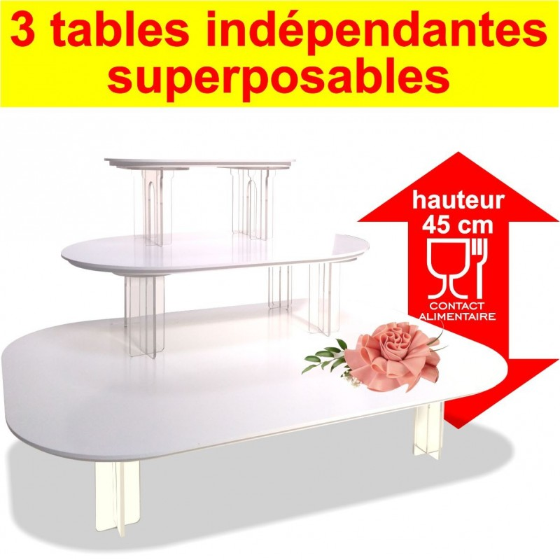 Ensemble de 3 tables indépendantes à contact alimentaire superposables